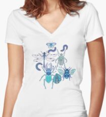 happy frozen blue bugs Women's Fitted V-Neck T-Shirt