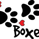 DOG PAWS LOVE BOXER DOG PAW I LOVE MY DOG PET PETS PUPPY STICKER STICKERS DECAL DECALS by MyHandmadeSigns