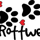 DOG PAWS LOVE ROTTWEILER DOG PAW I LOVE MY DOG PET PETS PUPPY STICKER STICKERS DECAL DECALS by MyHandmadeSigns
