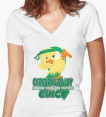 Cerebral Palsy Messed With The Wrong Chick Women's Fitted V-Neck T-Shirt