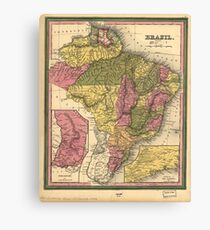 Vintage Map of Brazil (1846) Canvas Print