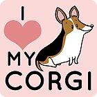I Love My Corgi - Black by Megan Downing