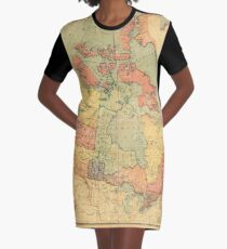 Vintage Map of Canada (1898) Graphic T-Shirt Dress