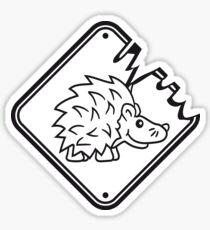 schild achtung warnung gefährlich monster gefahr stacheln baby comic cartoon süßer kleiner niedlicher igel  Sticker