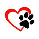 Dog Paw  LOVE heart Red & Black by thatstickerguy
