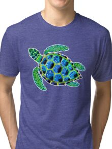Psychedelic sea turtle in acrylic Tri-blend T-Shirt