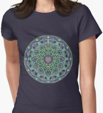 Hand Drawn Pink Purple Mandala  on Dark T-Shirt