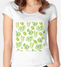 watercolor cactus Women's Fitted Scoop T-Shirt