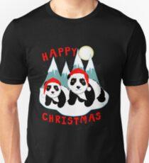 Cute Happy Christmas Panda Bears Snow Scene T-Shirt