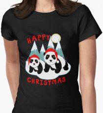 Cute Happy Christmas Panda Bears Snow Scene Womens Fitted T-Shirt