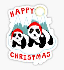 Cute Happy Christmas Panda Bears Snow Scene Sticker