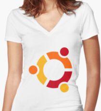 Ubuntu Women's Fitted V-Neck T-Shirt