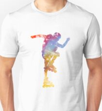 Man roller skater inline 02 in watercolor Unisex T-Shirt