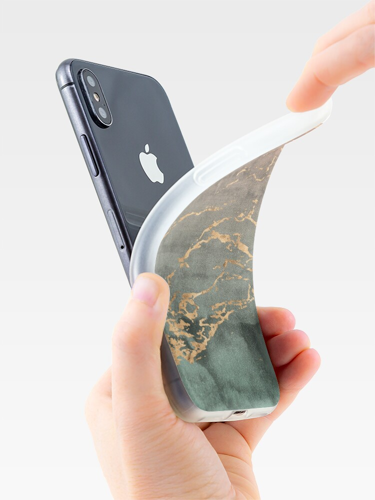 Vista alternativa de Funda y vinilo para iPhone Cubierta del teléfono del gradiente de la menta coralina de oro de mármol