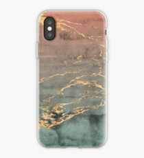 Marble gold coral mint gradient phone cover iPhone Case