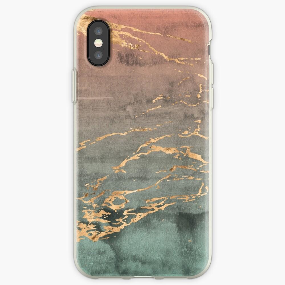 Cubierta del teléfono del gradiente de la menta coralina de oro de mármol Funda y vinilo para iPhone