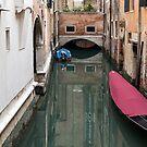 Moored boats Venice by Vicki Moritz