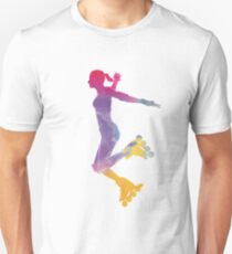 Woman in roller skates 03 in watercolor Unisex T-Shirt