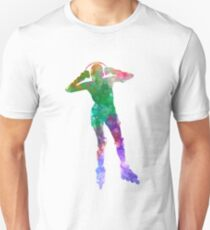 Woman in roller skates 04 in watercolor T-Shirt