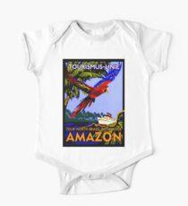 """AMAZON BRAZIL RIVER"" Vintage Cruise Print One Piece - Short Sleeve"