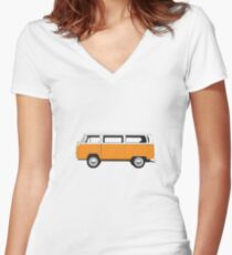 Tin Top Early Bay standard orange and white Women's Fitted V-Neck T-Shirt