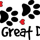 DOG PAWS LOVE GREAT DANE DOG PAW I LOVE MY DOG PET PETS PUPPY STICKER STICKERS DECAL DECALS by MyHandmadeSigns