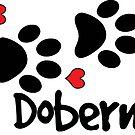 DOG PAWS LOVE DOBERMAN DOG PAW I LOVE MY DOG PET PETS PUPPY STICKER STICKERS DECAL DECALS by MyHandmadeSigns