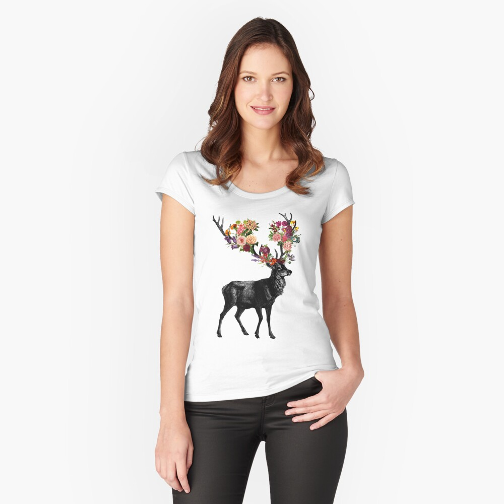 Frühling selbst Deer Floral Tailliertes Rundhals-Shirt