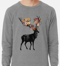 Spring Itself Deer Floral Lightweight Sweatshirt