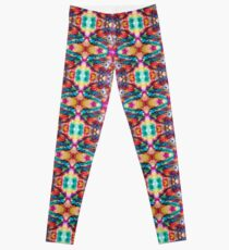 Turquoise Pink Gold Repeating Pattern Leggings