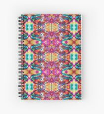 Turquoise Pink Gold Repeating Pattern Spiral Notebook