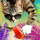Cat is drinking a cocktail by Vinchenko