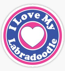 I LOVE MY LABRADOODLE DOG HEART I LOVE MY DOG PET PETS PUPPY STICKER STICKERS DECAL DECALS Sticker