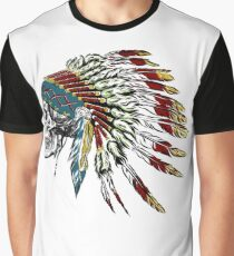 Skull in Indian feathers. Graphic T-Shirt