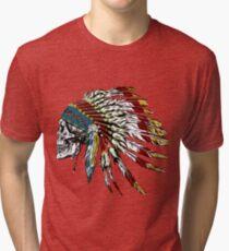 Camiseta de tejido mixto Cráneo en plumas indias.