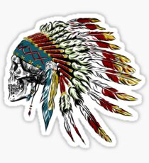 Skull in Indian feathers. Sticker