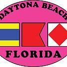 DAYTONA BEACH FLORIDA EURO OVAL NAUTICAL FLAG PINK by MyHandmadeSigns