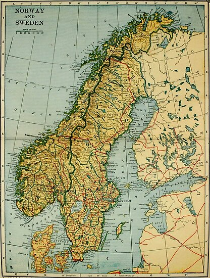 Vintage Map of Norway and Sweden (1921)\
