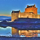Eilean Donan Castle HDR , the Highlands , Scotland. Digital painting of iconic Scottish castle by David Rankin