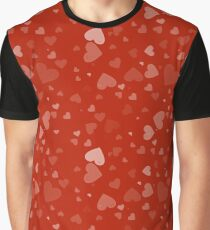 Fading Floating Hearts On Red Graphic T-Shirt