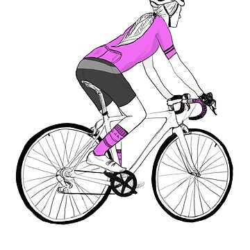 Woman cyclist / Pretty in PINK by Wildflower-Art