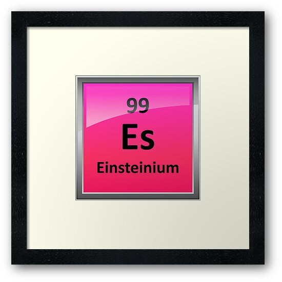 Einsteinium Periodic Table Element Symbol Framed Prints By
