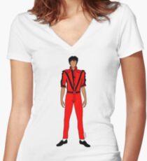 Thriller Red Jackson Women's Fitted V-Neck T-Shirt