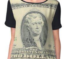President Jefferson: 2 Dollar Bill Chiffon Top