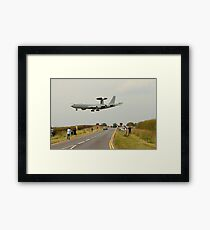 AWACS landing at RAF Waddington Framed Print