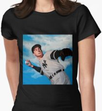 Joe DiMaggio painting Women's Fitted T-Shirt