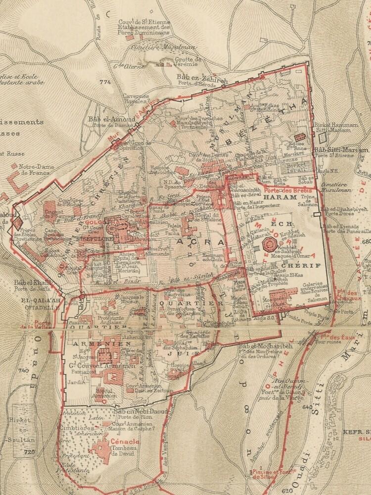 Vintage Map of Jerusalem Israel (1896)\