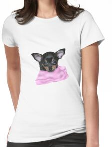 Cute Chihuahua Puppy Portrait No Background Womens Fitted T-Shirt