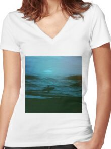 Night Surfer Women's Fitted V-Neck T-Shirt
