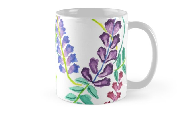 Hand-Painted Watercolor Japanese Wisteria Flowers by Beverly Claire Kaiya